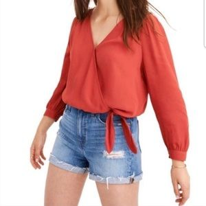 MADEWELL Silk Wrap Top Long Sleeve Cropped Fit M